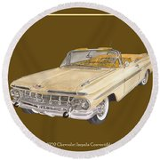 1959 Chevrolet Impala Convertible Round Beach Towel