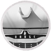1959 Dodge Coronet Emblem - Hood Ornament -0903bw Round Beach Towel