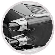 1959 Dodge Custom Royal Super D 500 Taillight -0233bw Round Beach Towel