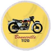 1959 T120 Bonneville Round Beach Towel