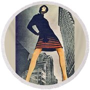 1960 70 Fashion Shot Of Female Model In Usa Round Beach Towel