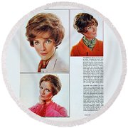 1960 70 Stylish Female Hair Styles Brown Mature Lady Round Beach Towel