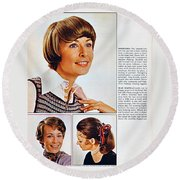 1960 70 Stylish Female Hair Styles Brown Round Beach Towel