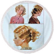 1960 70 Stylish Female Hair Styles Golden Blond Round Beach Towel