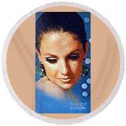 1960 70 Stylish Lady In Blue Round Beach Towel