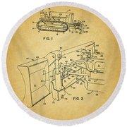 1960 Bulldozer Patent Round Beach Towel