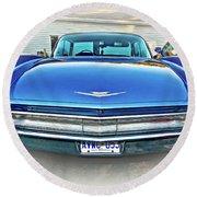 1960 Cadillac - Vignette Round Beach Towel