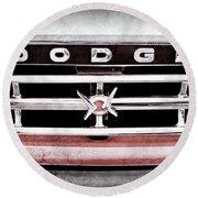 1960 Dodge Truck Grille Emblem -0275ac Round Beach Towel