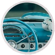 1960 Ford Thunderbird Dash Round Beach Towel