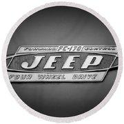 1960 Forward Control Jeep Fc-170 Emblem -1669bw Round Beach Towel