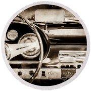 1960 Maserati 3500 Gt Spyder Steering Wheel Emblem -0407s Round Beach Towel
