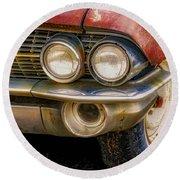 1961 Cadillac Headlight Round Beach Towel