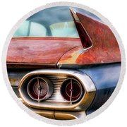 1961 Cadillac Tail Light And Fin Round Beach Towel