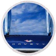 1961 Chevrolet Corvette Grille Round Beach Towel