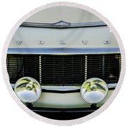 1961 Volvo Pv544 Grille Emblem -1511c Round Beach Towel