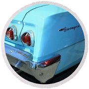 1962 Chevy - Chevrolet Biscayne Logos And Tail Lights Round Beach Towel