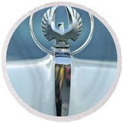 1962 Chrysler Imperial Hood Ornament Round Beach Towel