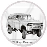 1962 Dodge Powerwagon Round Beach Towel
