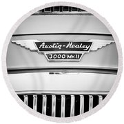 1963 Austin-healey 3000 Mk II Black And White Round Beach Towel