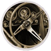 1963 Chevrolet Corvette Steering Wheel - Sepia Round Beach Towel