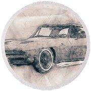 1963 Chevrolet Corvette Sting Ray - 1963 - Automotive Art - Car Posters Round Beach Towel