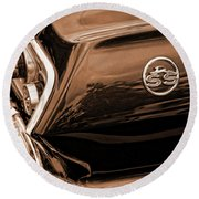 1963 Chevy Impala Ss Sepia Round Beach Towel