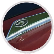1963 Ford Galaxie Hood Ornament Round Beach Towel