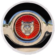 1963 Jaguar Xke Roadster Emblem Round Beach Towel