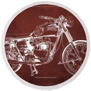 1963 Triumph Bonneville, Blueprint Red Background Round Beach Towel