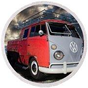 1963 Volkswagen Double Cab Truck Round Beach Towel