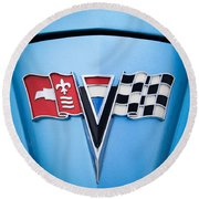1964 Chevrolet Corvette Sting Ray Gm Styling Coupe Hood Emblem -0126c45 Round Beach Towel