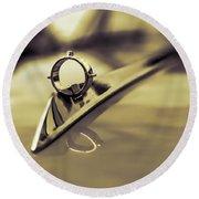 1964 Ford Galaxie 500 Xl Hood Ornament - Sepia Round Beach Towel