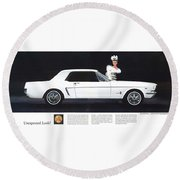 1964 Ford Mustang Muscle Round Beach Towel
