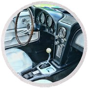 1965 Corvette Inside The Cockpit Round Beach Towel