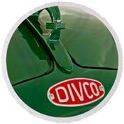 1965 Divco Milk Truck Hood Ornament Round Beach Towel