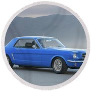 1965 Ford Mustang 'blue Coupe' I Round Beach Towel