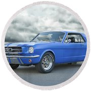 1965 Ford Mustang 'blue Coupe' IIa Round Beach Towel