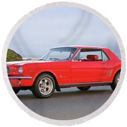 1965 Ford Mustang 'red Coupe' I Round Beach Towel