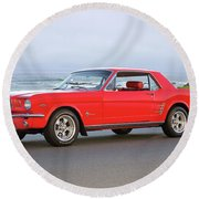 1965 Ford Mustang 'red Coupe' II Round Beach Towel