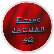 1965 Jaguar E Type Emblem Round Beach Towel