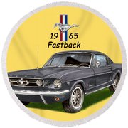 Mustang Fastback 1965 Round Beach Towel