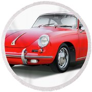 1965 Porshe 356 Sc Coupe Round Beach Towel