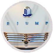 1965 Triumph Tr-4 Hood Ornament Round Beach Towel