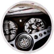 1966 Jaguar Xk-e Steering Wheel Emblem -2489ac Round Beach Towel