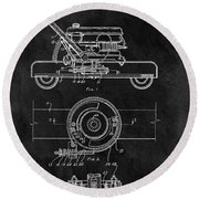 1966 Lawn Mower Patent Image Round Beach Towel