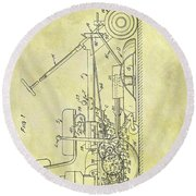 1966 Riding Mower Patent Round Beach Towel