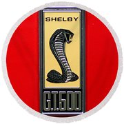 1967 Ford Shelby Gt 500 Cobra Fender Emblem On Red Round Beach Towel