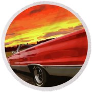 1967 Plymouth Satellite Convertible Round Beach Towel