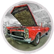 1967 Pontiac Gto American Muscle Car Round Beach Towel