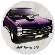 1967 Purple Pontiac Gto Round Beach Towel